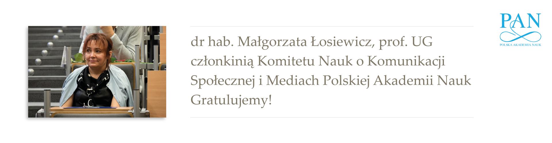 dr hab. Małgorzata Łosiewicz, prof. UG członkinią Komitetu Nauk o Komunikacji Społecznej PAN