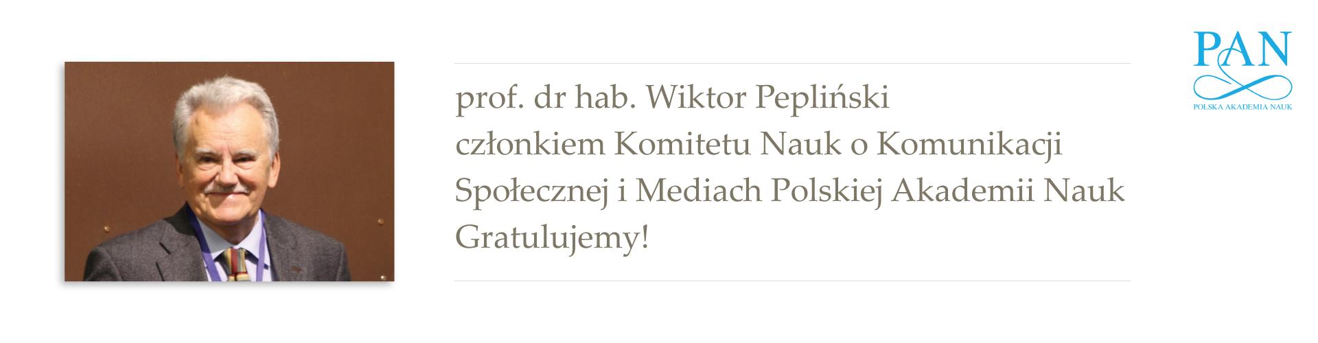 prof. dr hab. Wiktor Pepliński członkiem Komitetu Nauk o Komunikacji Społecznej i Mediach