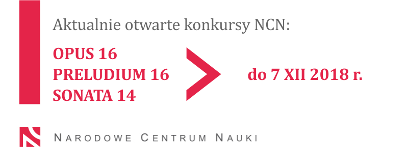 Trwa nabór wniosków w konkursach NCN OPUS 16, PRELUDIUM 16 i SONATA 14