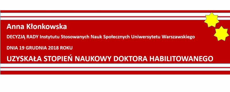slajd informujący o uzyskaniu habilitacji przez dr Annę Kłonkowską