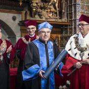 Od lewej: prof. Krzysztof Bielawski, dr hab. Arnold Kłonczyński prof. UG, dr Thomas Bach, prof. Jerzy Gwizdała