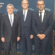 Od lewej: dr Thomas Bach, prof. Jerzy Gwizdała, prof. Piotr Stepnowski, fot. Archiwum UG